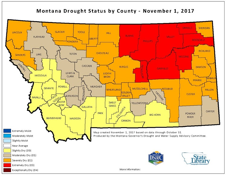 Montana County Drought Status Maps Home - Mt map