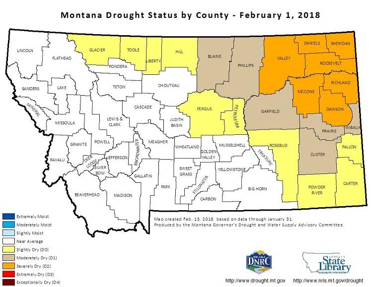 Montana County Drought Status Maps Home - Montana county map